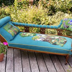 Victorian chaise upholstered with a bespoke design of a pond and the animals who visit it