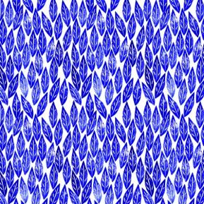 Cobalt Blue Scandi Leaves Pattern (c) Ella Johnston