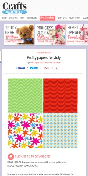 Paper pattern downloads for PaperCrafter and Crafts Beautiful Magazines