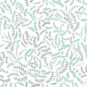 Laurel leaf and fir sprig pattern for fabric (c) Ella Johnston