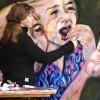 Schilderen aan 'meisje in de kersenboomgaard'