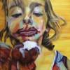 Het meisje met het ijsje, olieverf schilderij