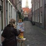 Schilderen aan de korte begijnestraat