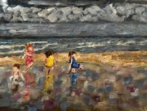Strand met vier spelende kinderen, olieverf schilderij