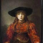 Rembrandt, Een meisje in een schilderijlijst, 1641, olieverf op paneel, 105.5 x 76 cm, Koninklijk Paleis, Warschau