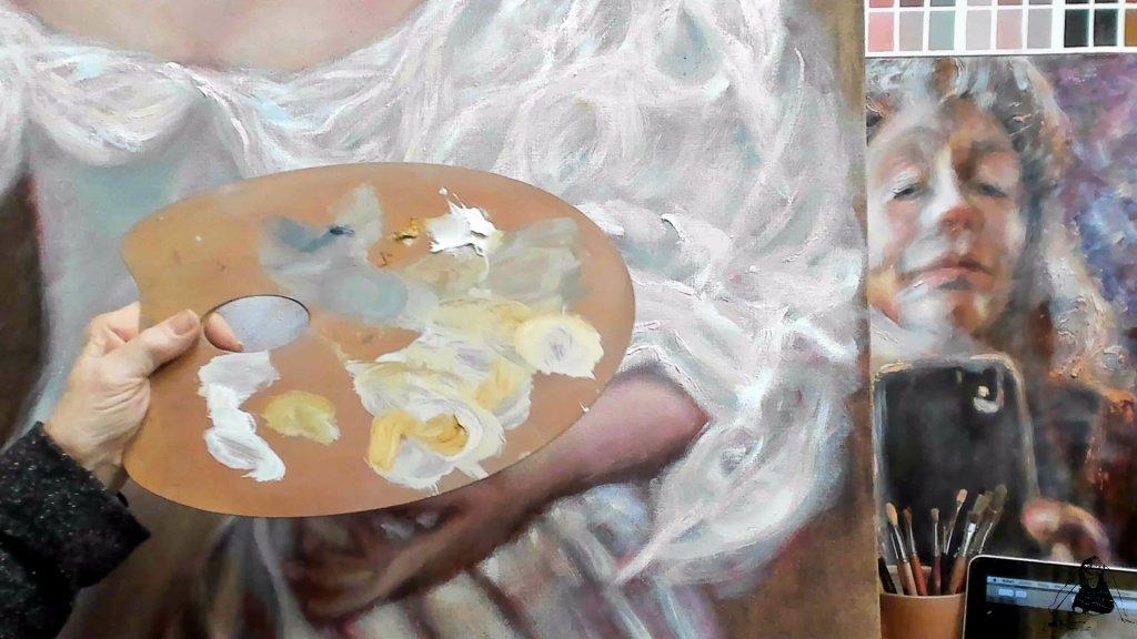 uit de schilderles serie: Alla Prima schilderen. Video 6 uit de schilderles serie: Witte Kleding schilderen als de Oude Meesters