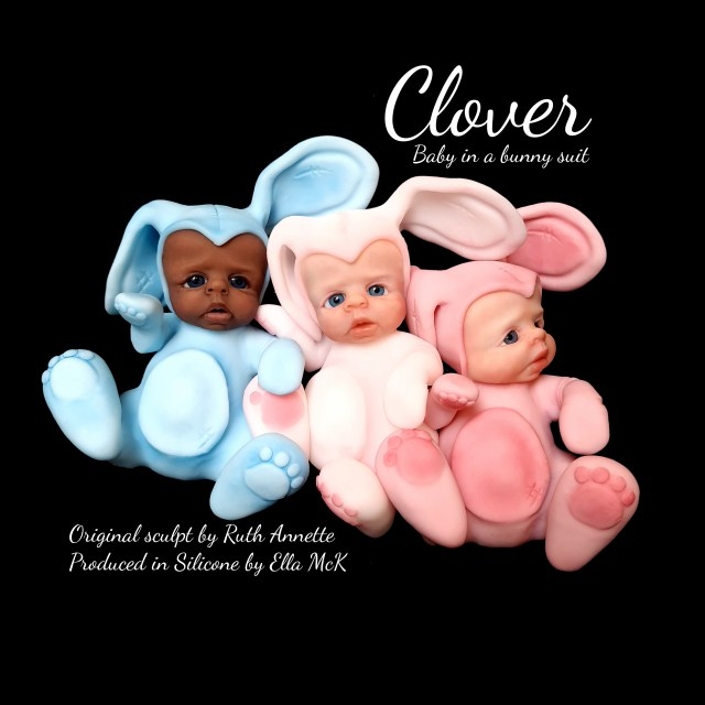 silicone blank unpainted  baby doll kit clover by ruth annette made in the UK by ella mck