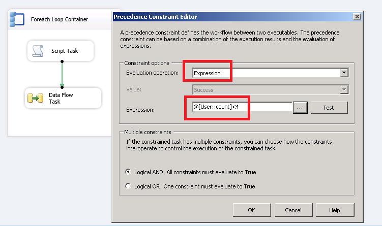 setting up precedence constraint ssis