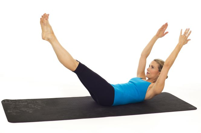 double leg stretch - pilates para adelgazar