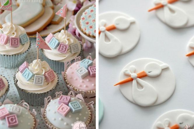 Galletas, dulces y cupcakes para baby shower