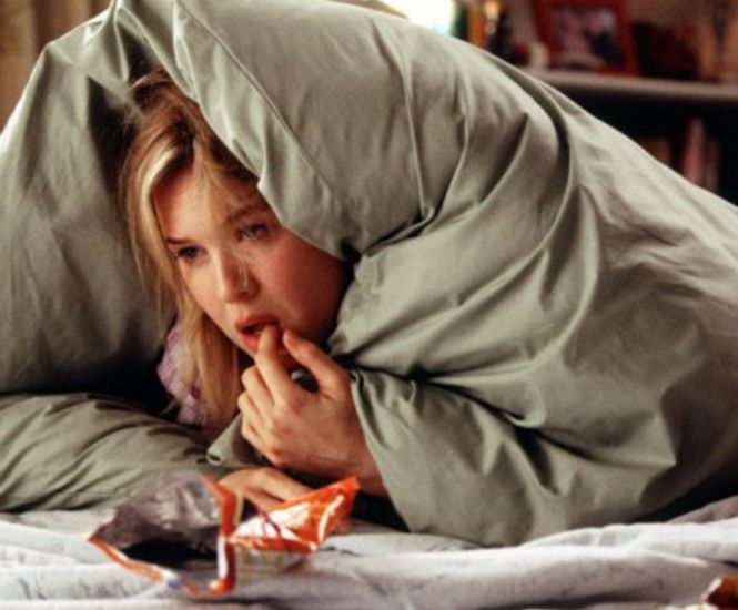 Bridget Jones comer chocolate