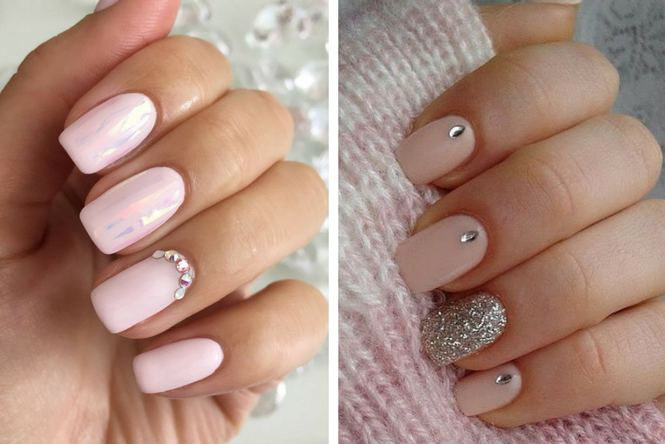 uñas de gel decoradas con pedras brillantes