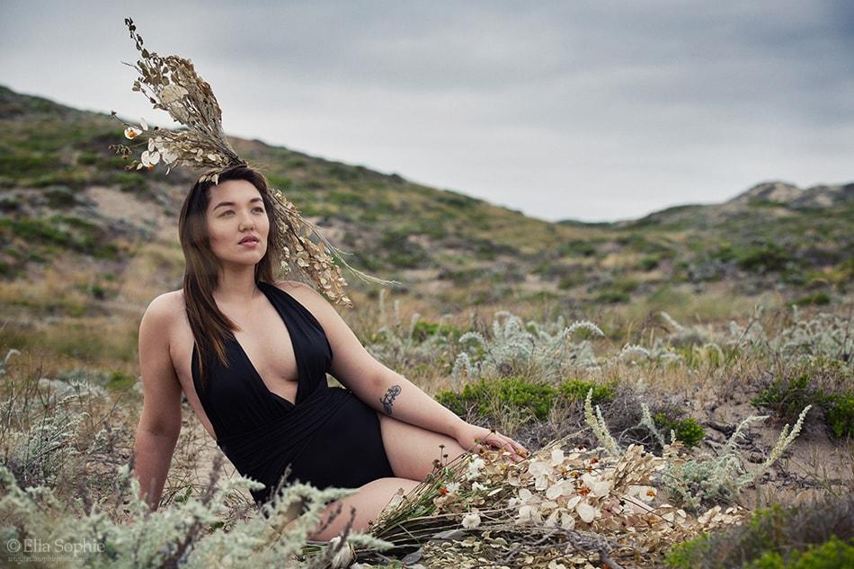 Beyond Boudoir defiant beauty portraiture by Oakland Photographer Ella Sophie of Angie Hilem at Point Reyes