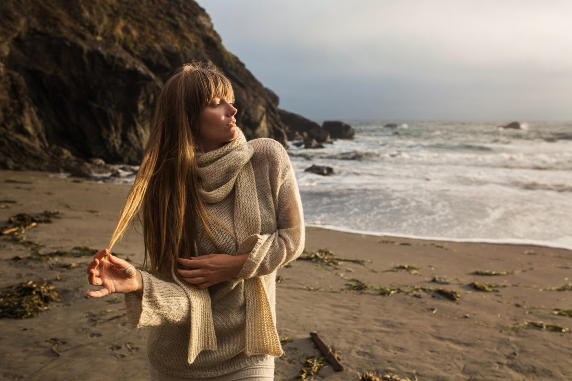 Ethical fashion photography for knitwear designers, Muir Beach, California, model vera vinot.