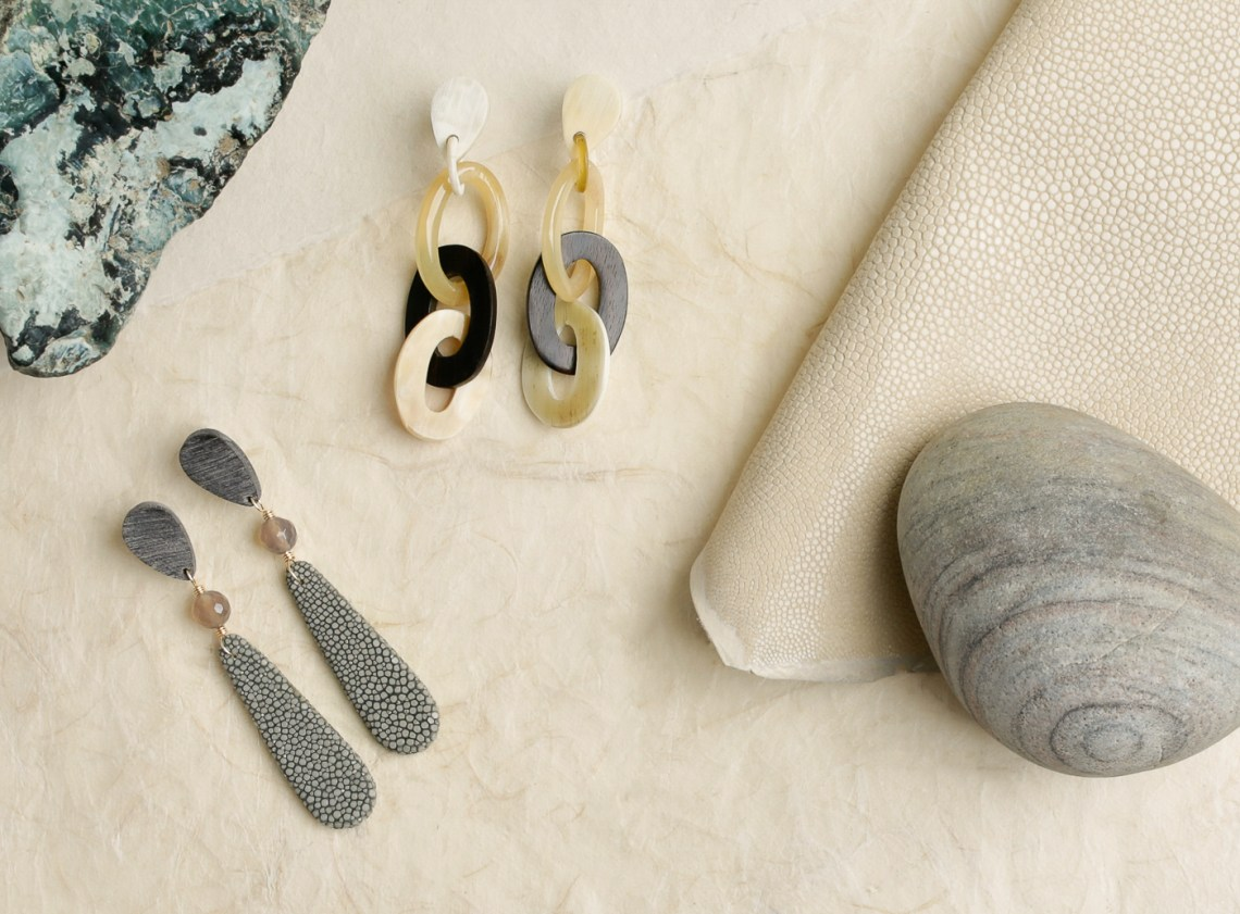 Vivo Shagreen and horn earring still life photography by Ella Sophie, Oakland CA