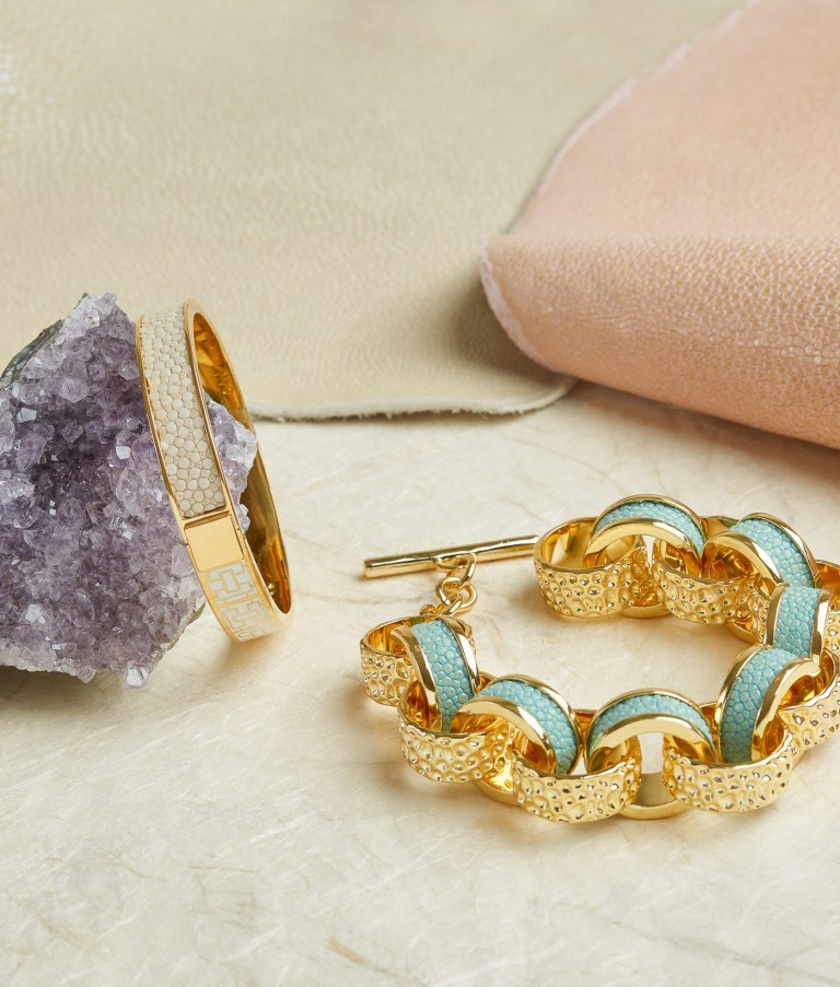 Shagreen and gold bracelet by jewelry photographer Ella Sophie with amethyst