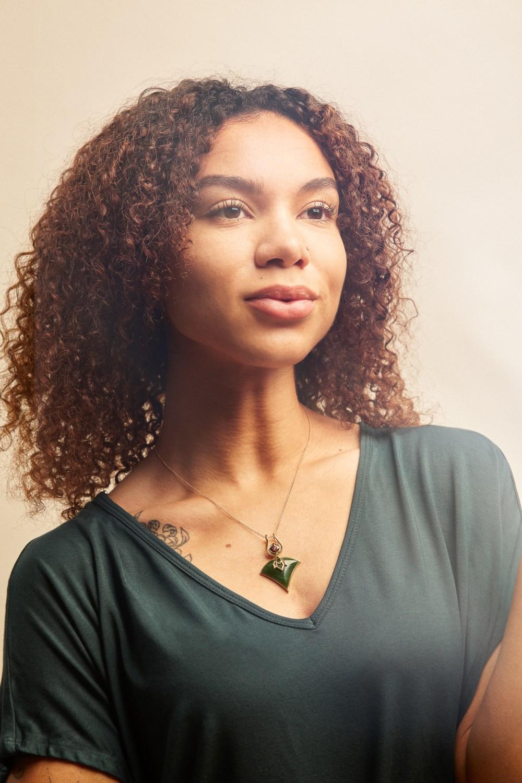 Studio jewelry shoot with model