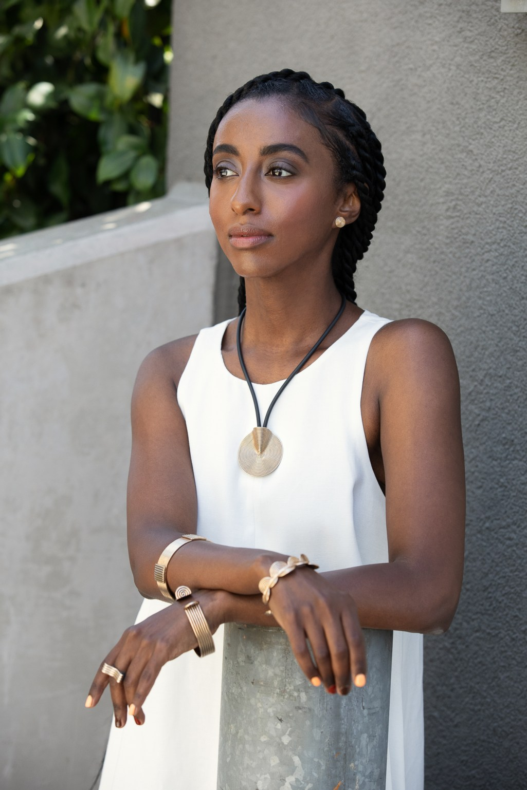 Kalkidan Gebreyohannes models for Elina Peduzzi Jewelry lookbook photoshoot in Oakland CA