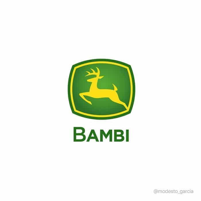 Logos Bambi con logo de Jonh Dere