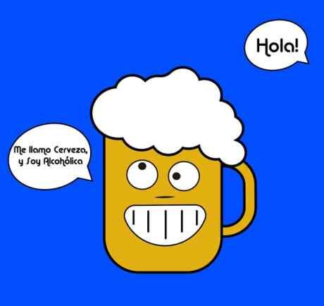 imagen de vector de cerveza con un bocadillo que pone me llamo cerveza y soy alcoholica sobre un forndo azul cielo