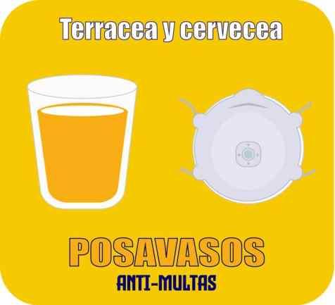 posavasos mascarilla anti-multas campaña terracea y cervecea