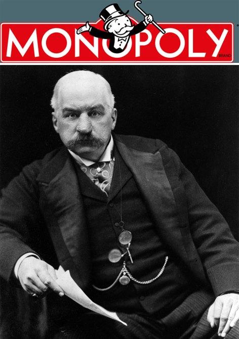 Logo de Monopoly y fotografía de JP Morgan