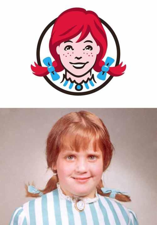 Composición que incluye el logo de Wendys con la foto de la hija de su creador