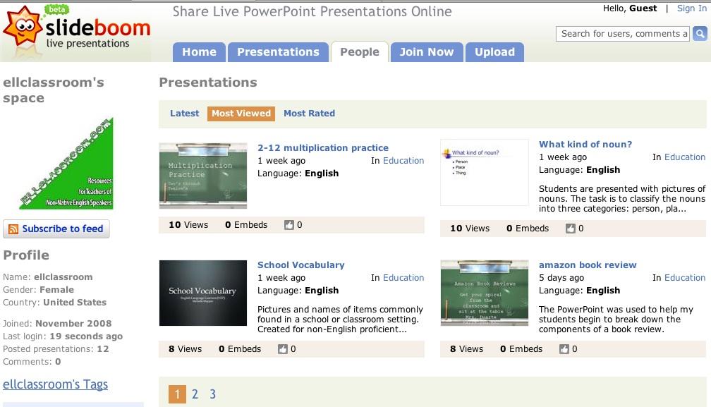 ELLclassroom's presentations