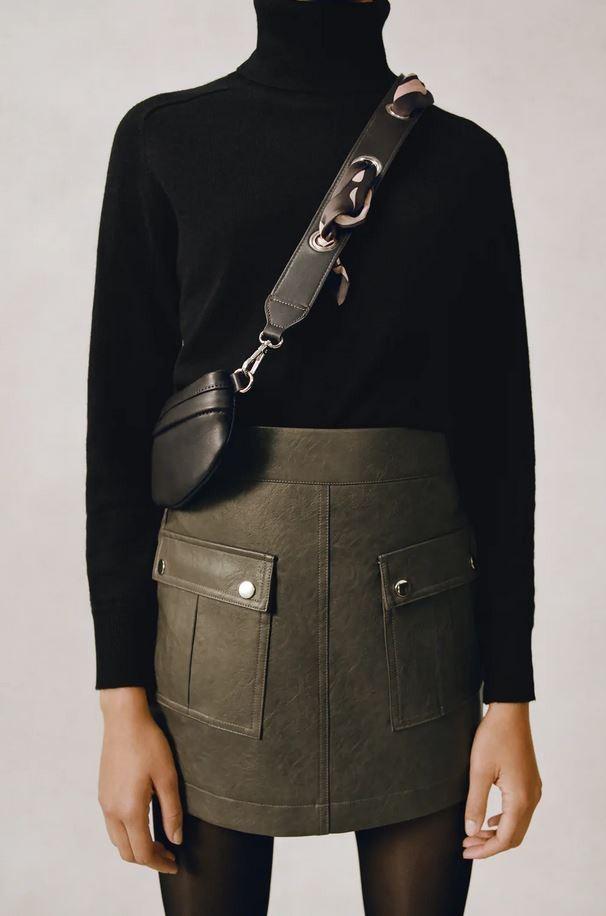 Μίνι δερμάτινη φούστα, Zara.