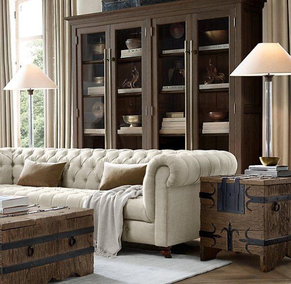 tufted restoration hardware sofa