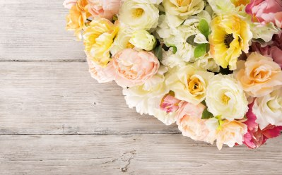 Flowers bouquet of peony, summer arrangement, wooden grunge