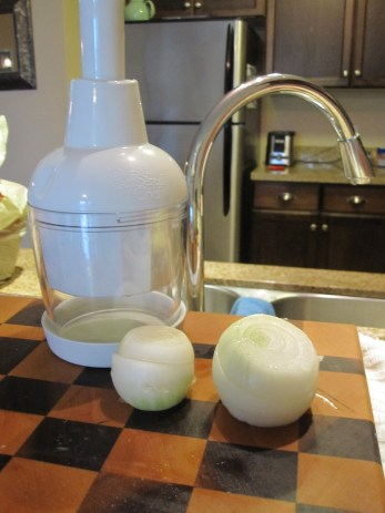 Chop onions finely - I used this pampered chef chopper - to yield four cups