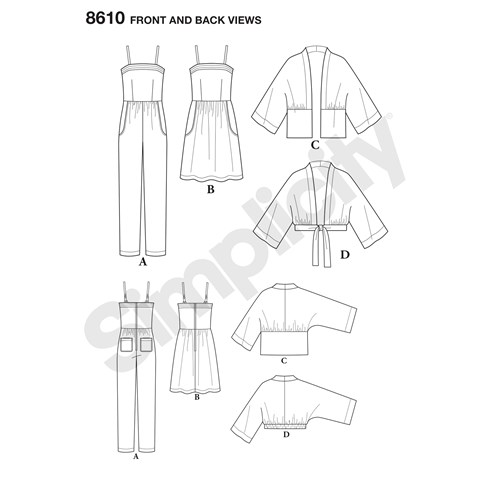 simplicity-kimono-jumpsuit-pattern-8610-front-back-view