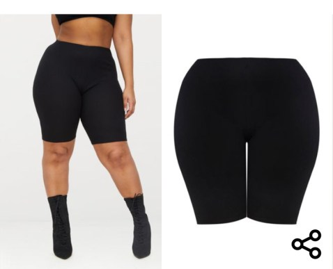 Plus, Black Ribbed Cycling Shorts. Sizes UK 16 - 26. £10.00. https://www.prettylittlething.com/plus-black-ribbed-cycling-shorts.html