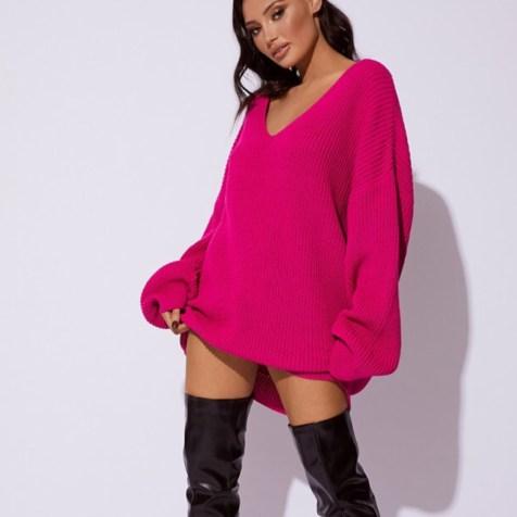 CC Clarke, Hot Pink Oversized V-Neck Jumper Dress. Sizes UK 6 - 16. £20.99. https://www.inthestyle.com/cc-clarke-hot-pink-oversized-v-neck-jumper-dress