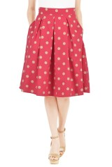 Polka Dot Cotton Poplin Skirt