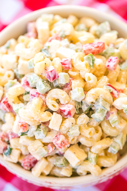 Pepper Jack Pasta Salad - seriously DELICIOUS! So simple, yet so amazing! Macaroni, pepper jack cheese, red bell pepper, green bell pepper, celery, green onions, mayonnaise, salt and pepper. Can make ahead and refrigerate until ready to eat. Perfect for summer potluck! Such an easy side dish recipe!
