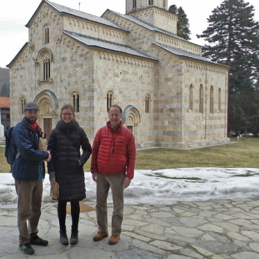 With Steve (red jacket, the father-in-law of my cousin, Beth) and our guide for the day, Dugie, at Monastery Visoki Decani, in Decani, Kosovo