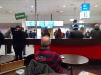 Athens airport, 2pm, waiting for my friend, R, to arrive.