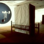T Passionate Attitudes, dimension variable, Camera Obscura installation with cloth, motor, hair and steel, 1994