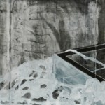 """Overflow, 2007, 26""""W x 11""""H, ink on paper"""