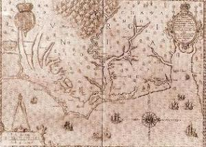 Map of the North Carolina coast, which was engraved by  Theodor de Bry and published in 1590