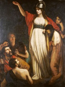 """Painting """"Boadicea Haranguing the Britons"""" by John Opie (1761–1807). The painting is an 18th century imagining of how she may have looked like, which is the depicted style of dress is not representative of how ancient Briton women dressed."""