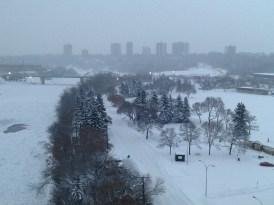 Snowy winter river valley