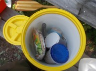 Variety of containers for carrying food and gear