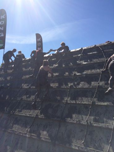 One of the many obstacles at Mud Hero. This photo was taken on Saturday, when it was sunny, and not cold.