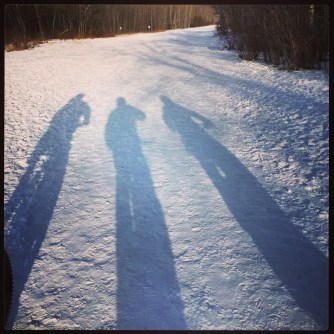 Long shadows with 2 other cyclists in Hermitage Park