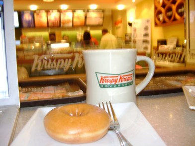 Krispy Kreme Fresh Hot Now donut and coffee were a real treat after 2 years in Asia