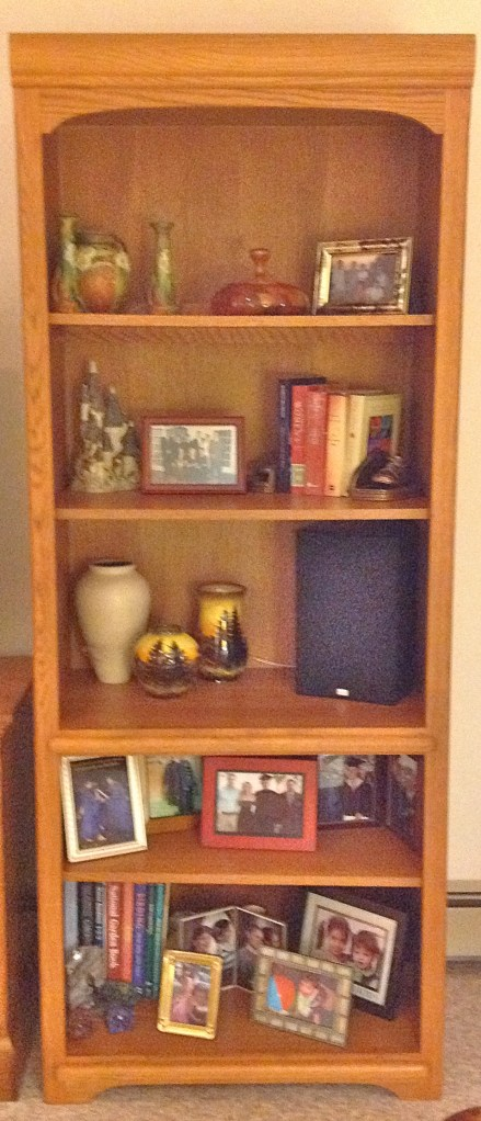 Shelf designing: TV speakers were added to the shelves instead of sitting on the floor.