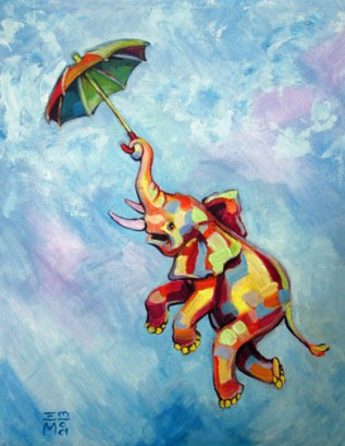 "SOLD: ""Umbrella Elephant"" - acrylic - 11x14"""